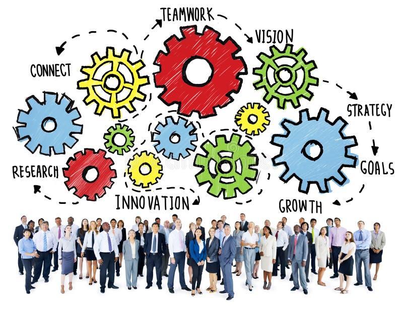 Concetto del sostegno alle imprese di Team Teamwork Goals Strategy Vision illustrazione vettoriale