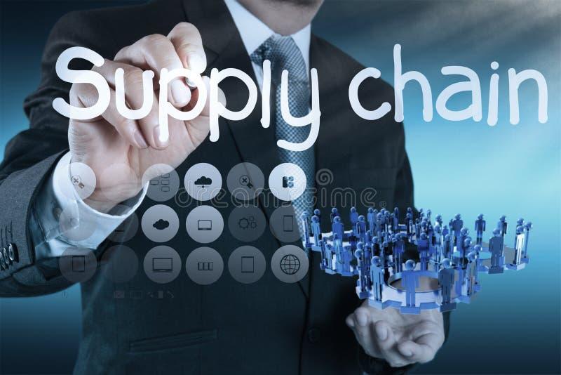 Concetto del supply chain management tramite flusso dal fornitore a custume fotografie stock