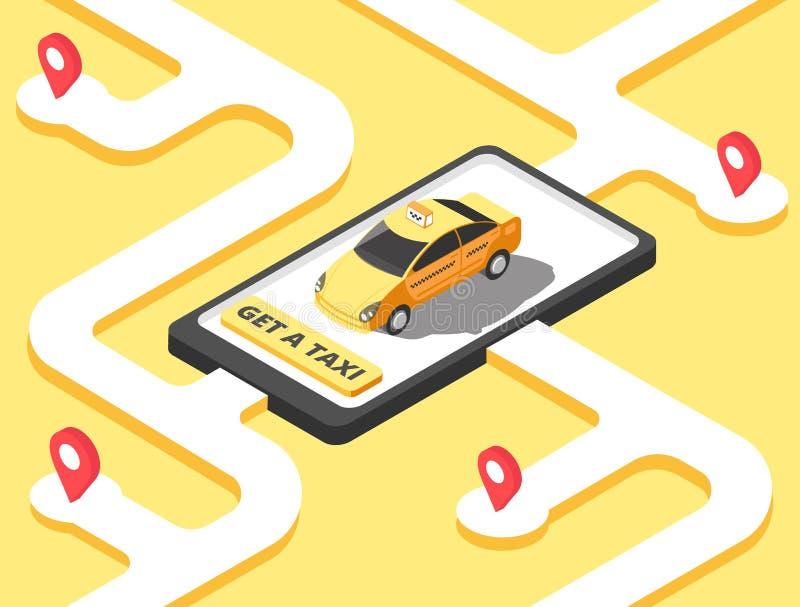 Concetto del taxi Guida gialla isometrica della carrozza dell'automobile per il cliente sulla mappa Fondo di vettore del app di s illustrazione di stock
