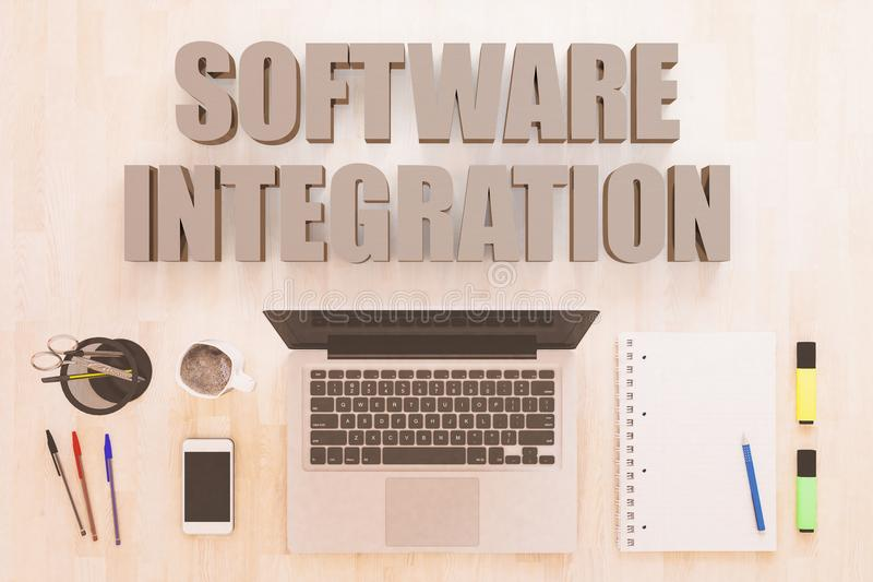 Concetto del testo di integrazione di software illustrazione di stock