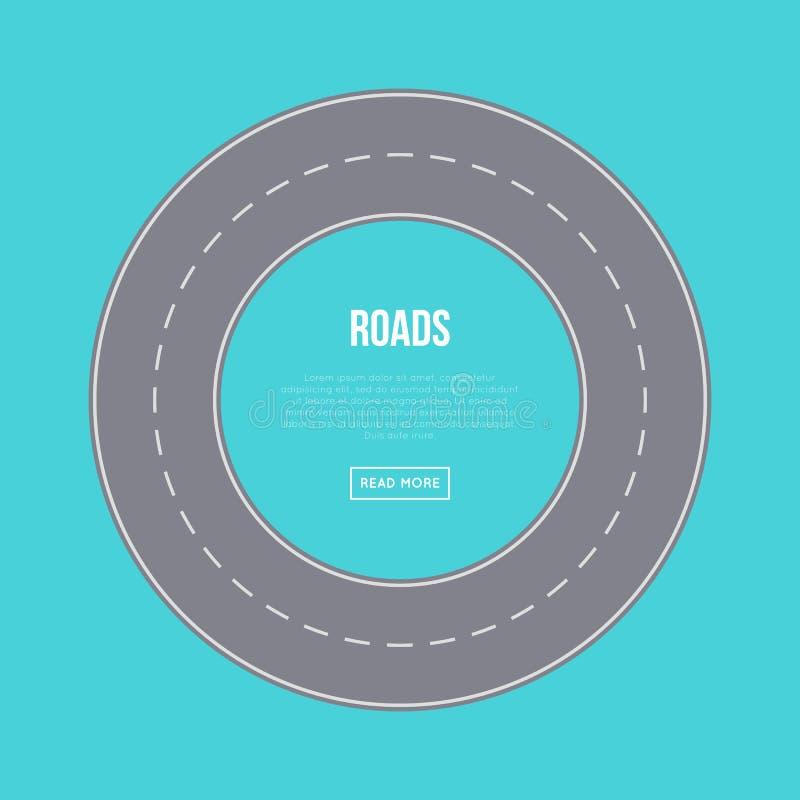Concetto del traffico cittadino con l'anello della strada illustrazione vettoriale
