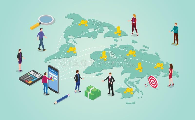 Concetto del trasferimento di denaro con la gente che invia soldi intorno alla destinazione del mondo globale o internazionale co illustrazione vettoriale