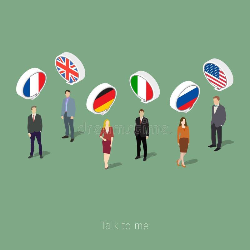 Concetto del viaggio d'affari o delle lingue di studio illustrazione di stock