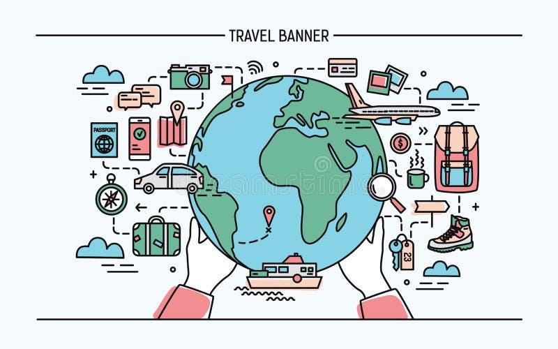 Concetto del viaggio e del turismo Insegna orizzontale di pubblicità con terra, globo, trasporto, viaggiatore necessario di cose illustrazione di stock