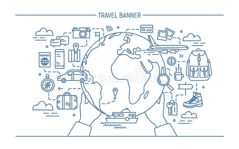Concetto del viaggio e del turismo Insegna orizzontale di pubblicità con terra, globo, trasporto, viaggiatore necessario di cose illustrazione vettoriale