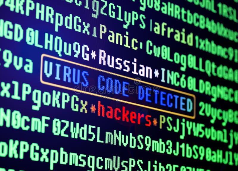 Concetto del virus di calcolatore Virus nel codice di programma immagine stock