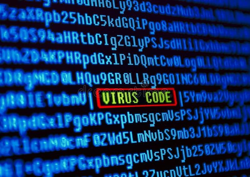 Concetto del virus informatico. Codice del virus immagini stock