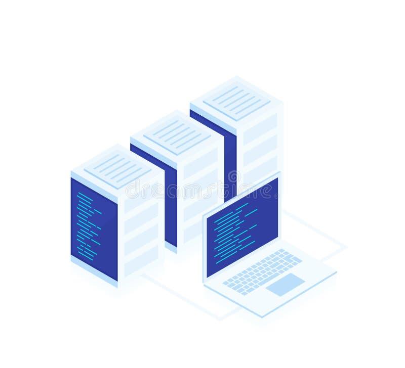 Concetto del web hosting Vector la mappa isometrica con i server ed il computer portatile della rete di affari illustrazione di stock