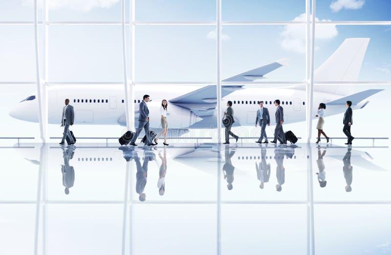 Concetto dell'aeroplano del trasporto di viaggio di affari di viaggio dell'aeroporto immagine stock
