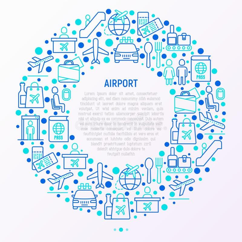 Concetto dell'aeroporto nel cerchio con la linea sottile icone illustrazione vettoriale