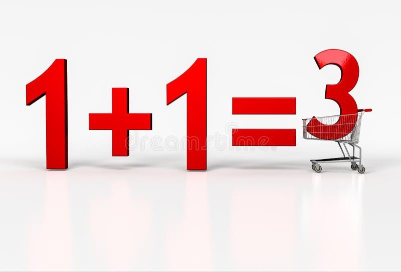 Concetto dell'affare due - ottenga su libero Grande segno rosso di 1+1=3 nello shopp illustrazione di stock