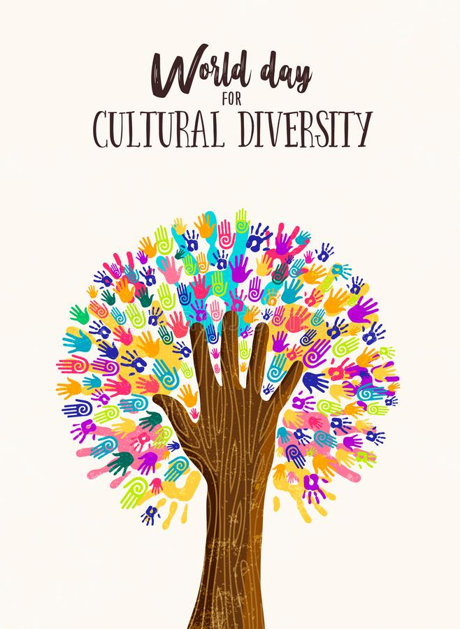 Concetto dell'albero della mano per il giorno di diversità culturale royalty illustrazione gratis