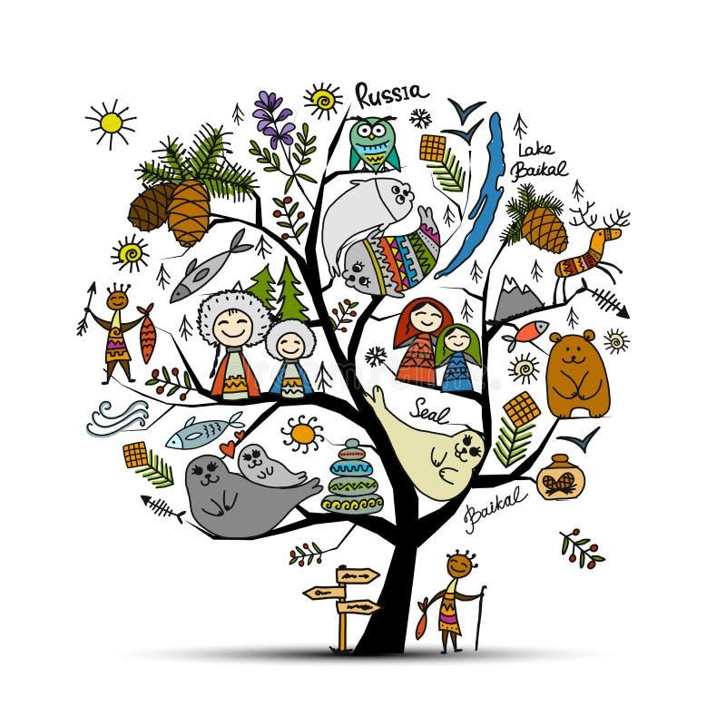 Concetto dell'albero di Baikal, Russia Schizzo per la vostra progettazione illustrazione vettoriale