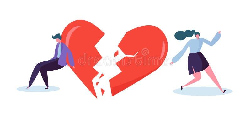 Concetto dell'amante della gente del cuore rotto Gelosia triste del partner del sospetto del carattere della donna e del giovane  royalty illustrazione gratis
