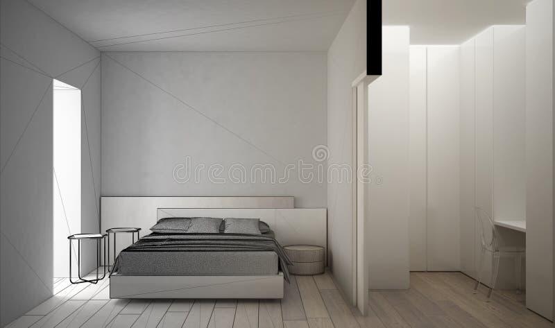 Concetto dell'architetto arredatore dell'architetto: progetto non finito che si trasforma in in camera da letto bianca e di legno illustrazione vettoriale