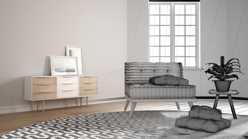 Concetto dell'architetto arredatore dell'architetto: progetto non finito che si trasforma in in salone minimalista reale e scandi illustrazione vettoriale