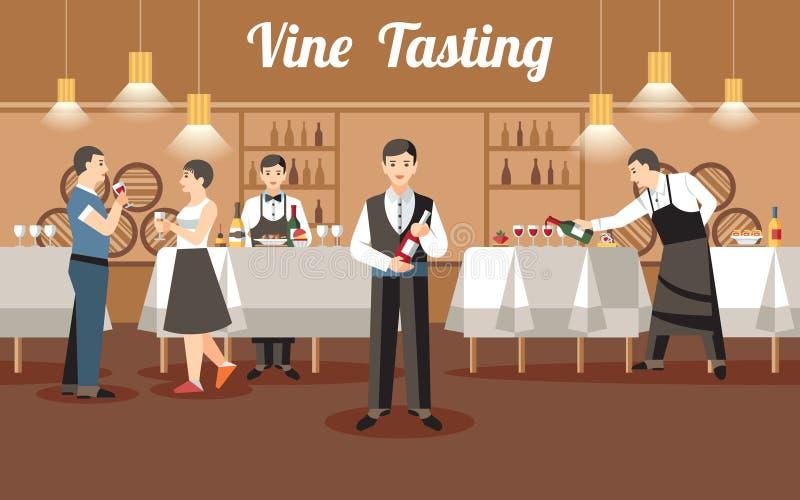 Concetto dell'assaggio di vino Illustrazione piana di vettore royalty illustrazione gratis