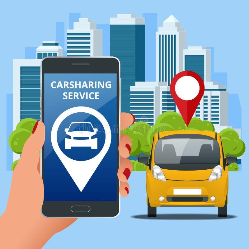 Concetto dell'autonoleggio Vendita, leasing o affittare servizio dell'automobile Noleggio di veicolo ed acquisto Auto usate app illustrazione vettoriale