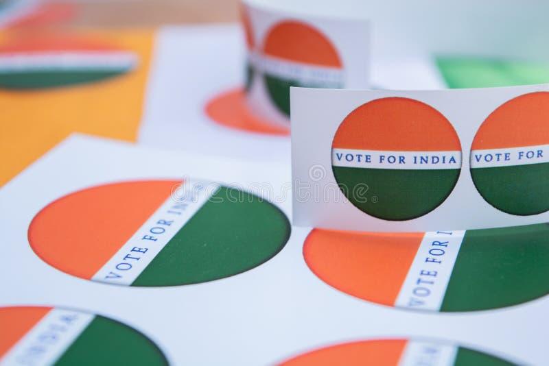 Concetto dell'elezione indiana, autoadesivi che mostrano voto per la migliore India fotografia stock