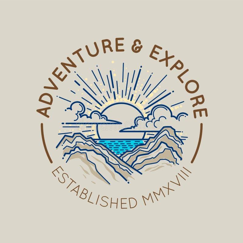 Concetto dell'emblema di logo della montagna illustrazione di stock