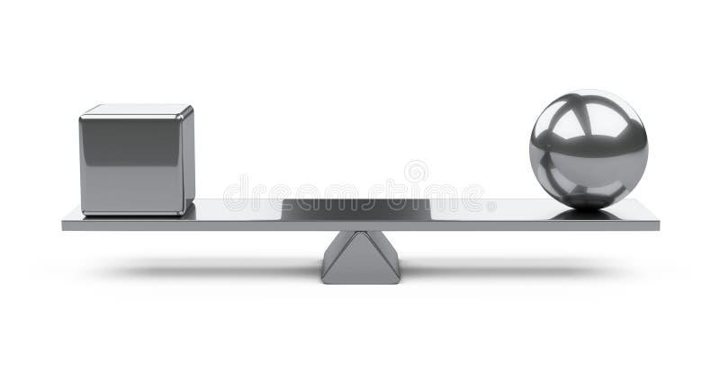 Concetto dell'equilibrio - scatola e palla su un bordo illustrazione di stock