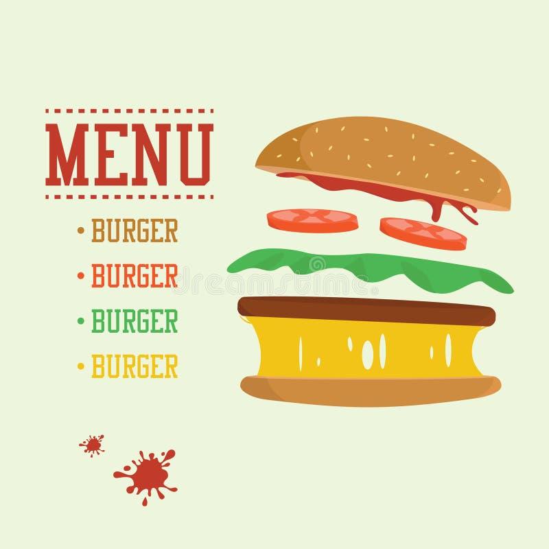 Concetto dell'hamburger Menu con gli ingredienti dell'hamburger Alimenti industriali piani di progettazione royalty illustrazione gratis