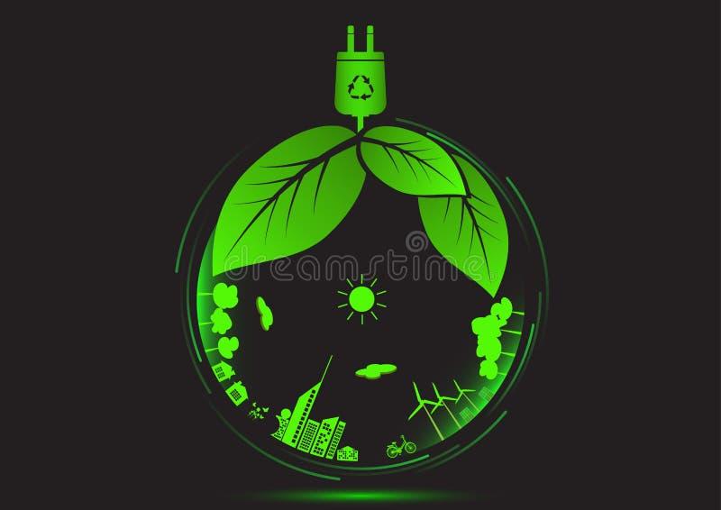 Concetto dell'icona del mondo di verde di eco di ecologia illustrazione di stock