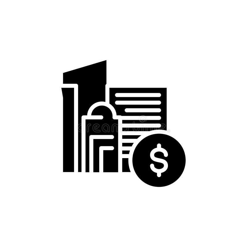 Concetto dell'icona del nero del centro finanziario Simbolo piano di vettore del centro finanziario, segno, illustrazione illustrazione di stock