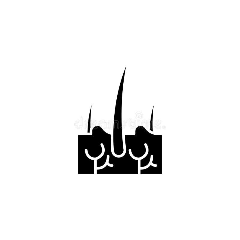 Concetto dell'icona del nero dei capelli del derma Simbolo piano di vettore dei capelli del derma, segno, illustrazione royalty illustrazione gratis
