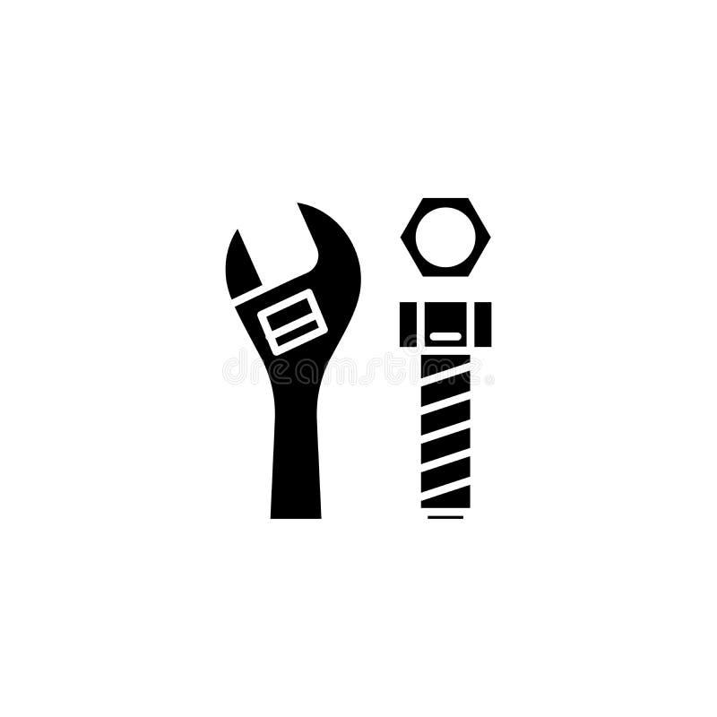 Concetto dell'icona del nero della chiave regolabile Simbolo piano di vettore della chiave regolabile, segno, illustrazione illustrazione vettoriale