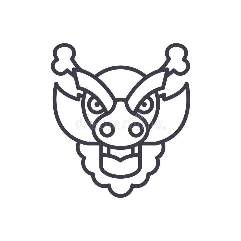 Concetto dell'icona del nero della decorazione del drago Simbolo piano di vettore della decorazione del drago, segno, illustrazio royalty illustrazione gratis