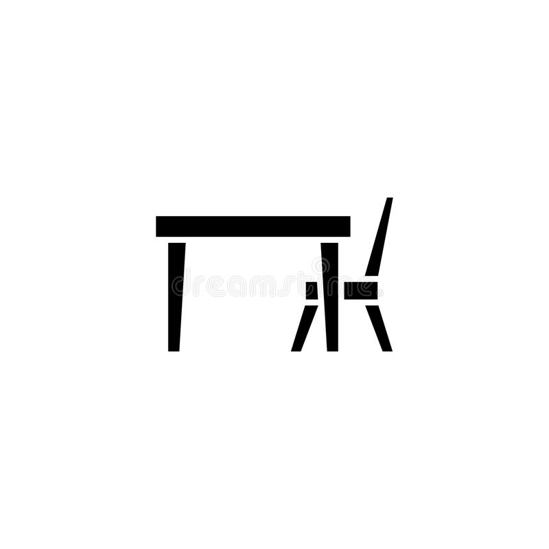 Concetto dell'icona del nero della sedia della Tabella Simbolo piano di vettore della sedia della Tabella, segno, illustrazione royalty illustrazione gratis