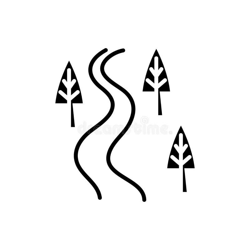 Concetto dell'icona del nero della strada campestre Simbolo piano di vettore della strada campestre, segno, illustrazione illustrazione di stock