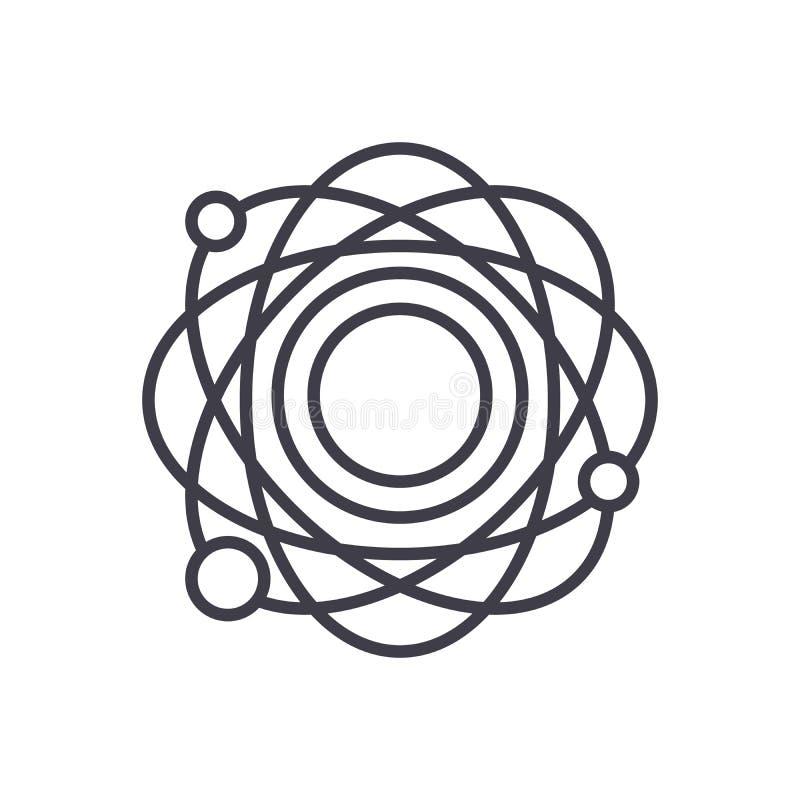 Concetto dell'icona del nero della struttura atomica Simbolo piano di vettore della struttura atomica, segno, illustrazione illustrazione di stock