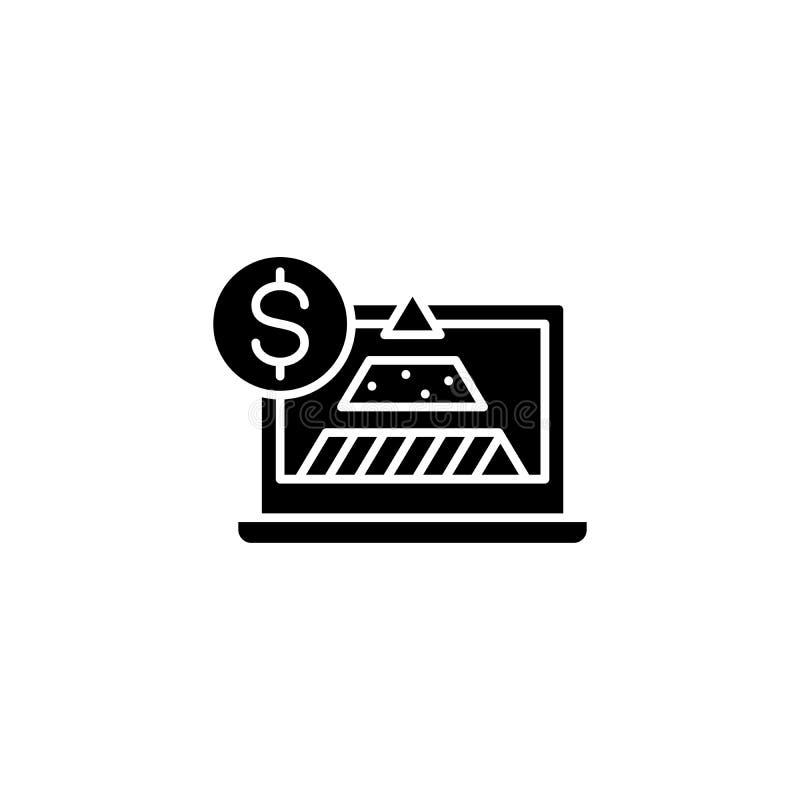 Concetto dell'icona del nero della struttura del mercato finanziario Simbolo piano di vettore della struttura del mercato finanzi illustrazione vettoriale