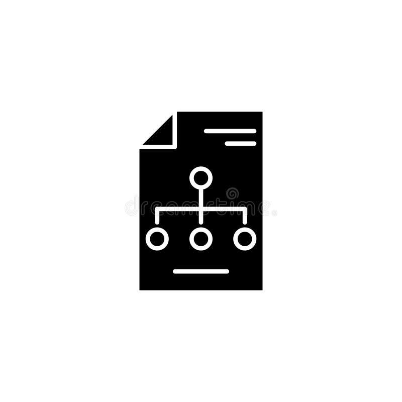 Concetto dell'icona del nero della struttura organizzativa Simbolo piano di vettore della struttura organizzativa, segno, illustr illustrazione di stock