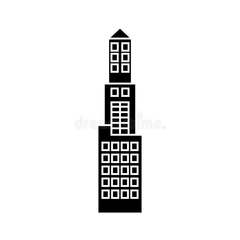 Concetto dell'icona del nero della torre dell'ufficio Segno di vettore della torre dell'ufficio, simbolo, illustrazione illustrazione di stock