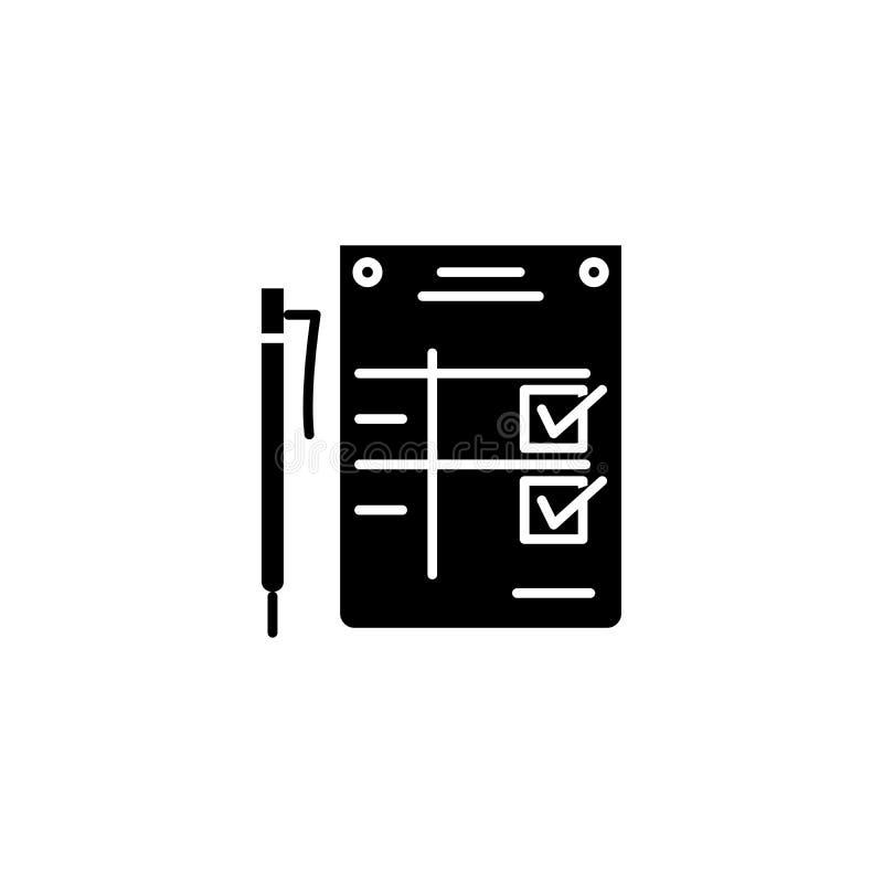 Concetto dell'icona del nero di dichiarazione di completamento Simbolo piano di vettore di dichiarazione di completamento, segno, illustrazione vettoriale