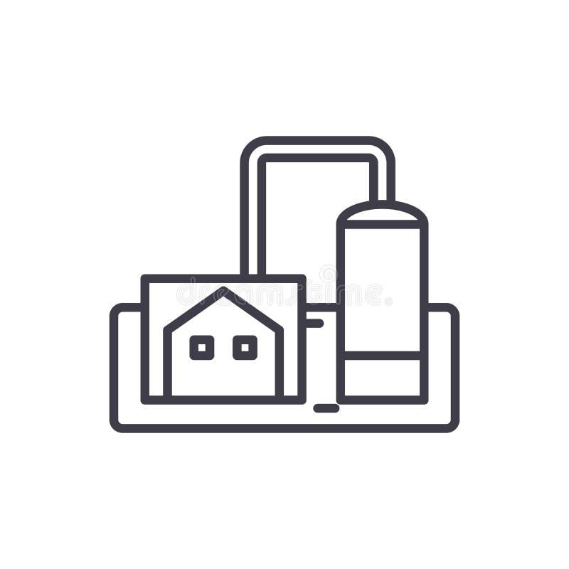 Concetto dell'icona del nero di impresa di fabbricazione Simbolo piano di vettore di impresa di fabbricazione, segno, illustrazio royalty illustrazione gratis