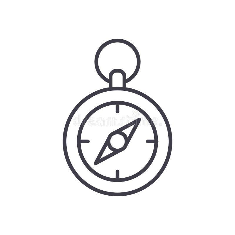 Concetto dell'icona del nero di orientamento della bussola del terreno Simbolo piano di vettore di orientamento della bussola del illustrazione di stock