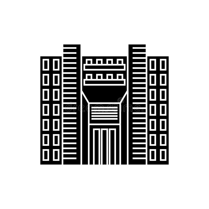 Concetto dell'icona del nero del grattacielo della torre Segno di vettore del grattacielo della torre, simbolo, illustrazione illustrazione vettoriale