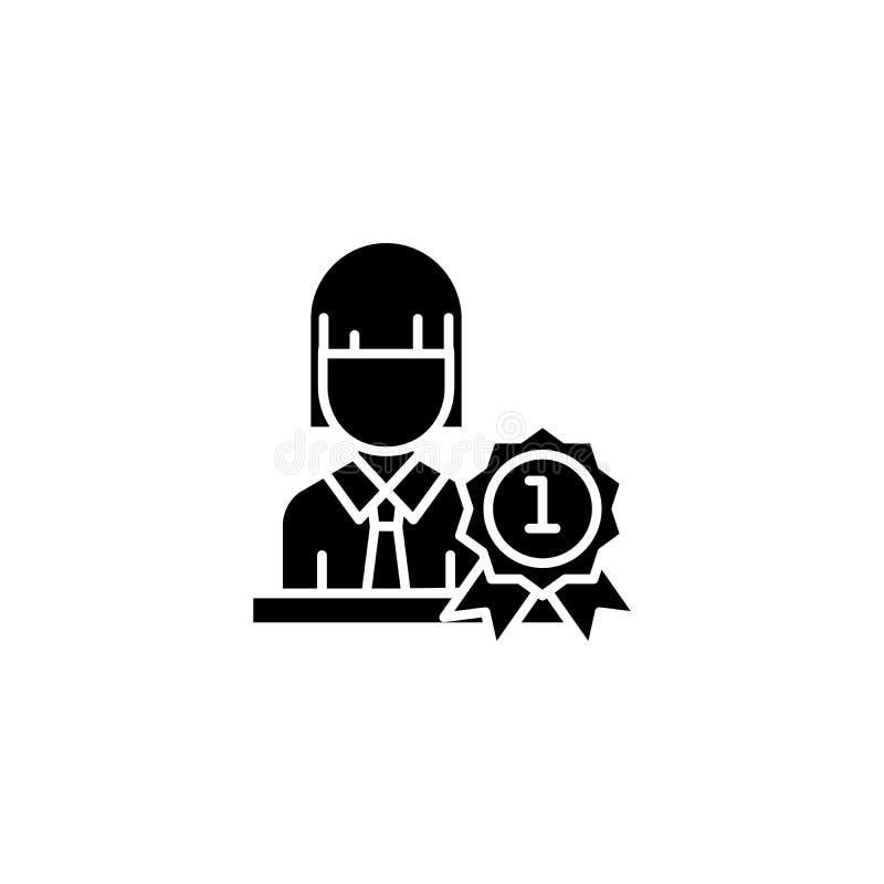 Concetto dell'icona del nero del premio dell'uomo d'affari Simbolo piano di vettore del premio dell'uomo d'affari, segno, illustr illustrazione vettoriale