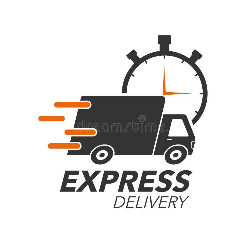 Concetto dell'icona di consegna precisa Camion con l'icona del cronometro royalty illustrazione gratis