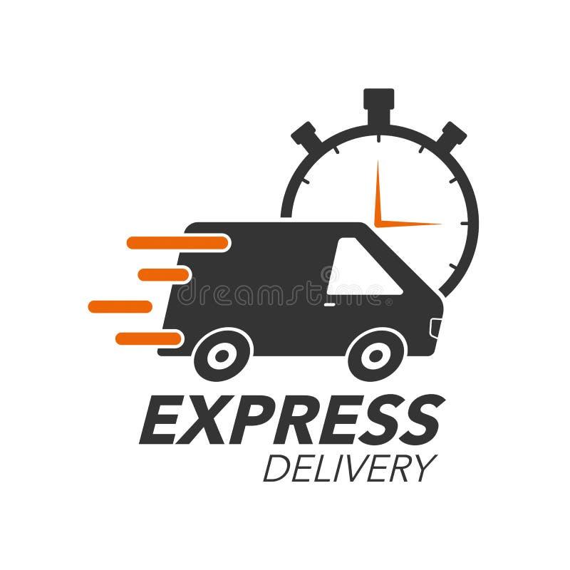 Concetto dell'icona di consegna precisa Van con l'icona del cronometro illustrazione di stock