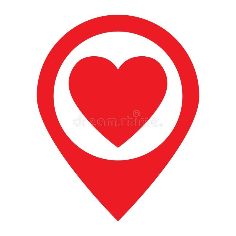 Concetto dell'icona di posizione di amore illustrazione di stock