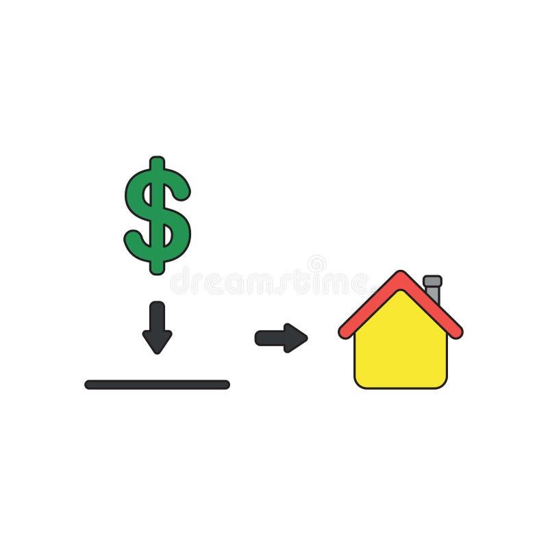 Concetto dell'icona di vettore del simbolo del dollaro nel foro di salvadanaio e nella casa di mostra royalty illustrazione gratis