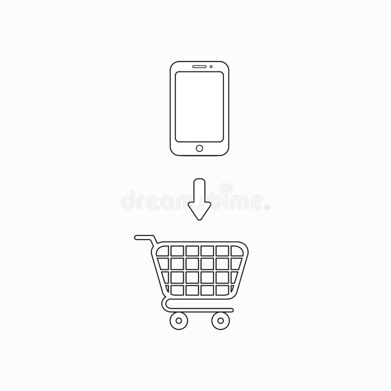 Concetto dell'icona di vettore dell'icona dello smartphone nel carrello royalty illustrazione gratis