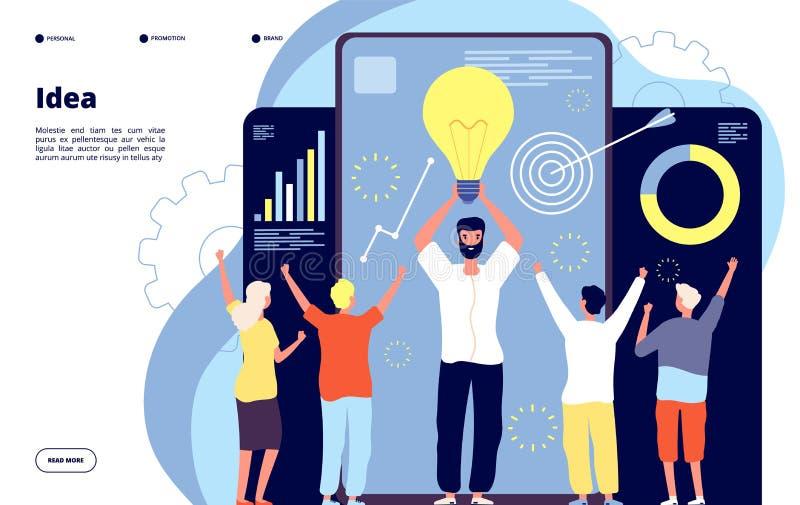 Concetto dell'idea della lampadina Il team di business con leader tiene accesa la lampadina Innovazione e brainstorming, lavoro d royalty illustrazione gratis