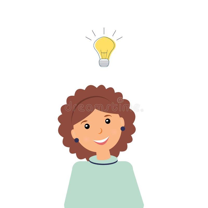 Concetto dell'idea di affari: Bello ragioniere di donna sorridente di genere stesso con la lampadina bruciante inclusa sopra la t illustrazione vettoriale
