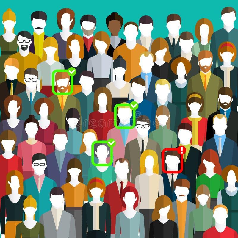Concetto dell'identificazione del fronte Una folla della gente con i segni di identificazione sul fronte Sistema di riconosciment royalty illustrazione gratis